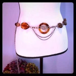 Chico's metal, wood and beaded belt